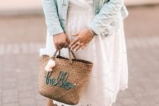 13 a white lace midi wrap dress, pink shoes, a bleached denim jacket and a woven bag with embroidery