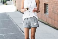 13 a white sleeveless top, grey shorts and white trainers for comfortable running