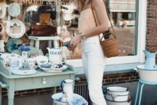 14 a comfy outfit with white skinnies, a gingham top, animal print sneakers and a basket bag