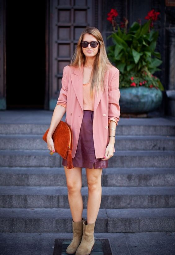 a jewel tone fall look with a blush top, a pink oversized blazer, a purple leather mini, neutral boots and a red bag