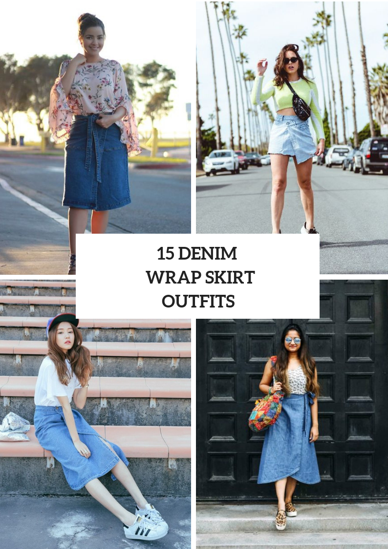 Outfits With Denim Wrap Skirts