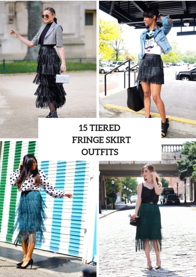 Outfits With Tiered Fringe Skirts For Stylish Ladies