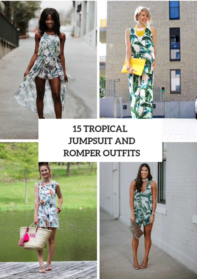Outfits With Tropical Printed Rompers And Jumpsuits
