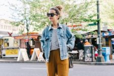 15 a striped tee, ocher cropped pants, white sneakers and a blue oversized denim jacket