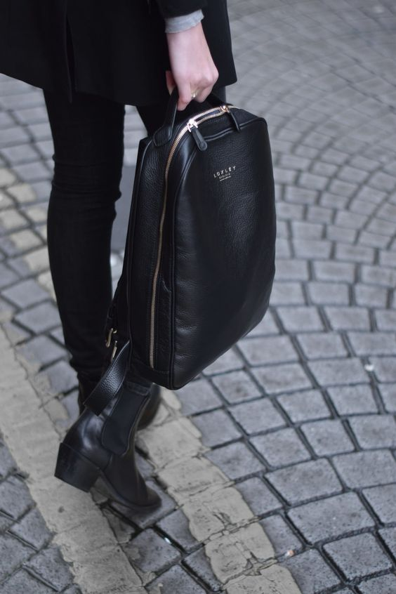 a stylish and minimal black laptop backpack is all you need for work every day