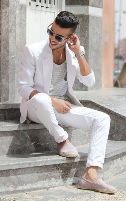 a white suit, a striped tee, neutral espadrilles for a chic foral party look