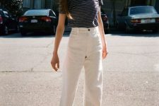 16 a striped tee, white high waisted mom jeans, black strappy shoes