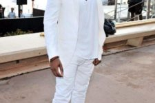 16 a white suit, a white tee, white sneakers for a formal summer party look by Kanye West
