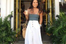 16 trendy white culottes with a row of buttons is a perfect idea to go to the beach and not only