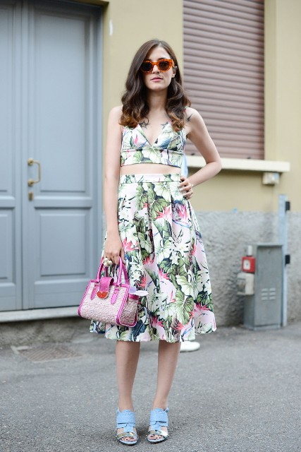 With A line midi skirt, pink bag and light blue mules