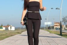 With belt, black shoes and black leather clutch