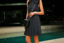 With black chain strap small bag and white ankle strap shoes