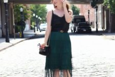 With black top, chain strap bag and pumps