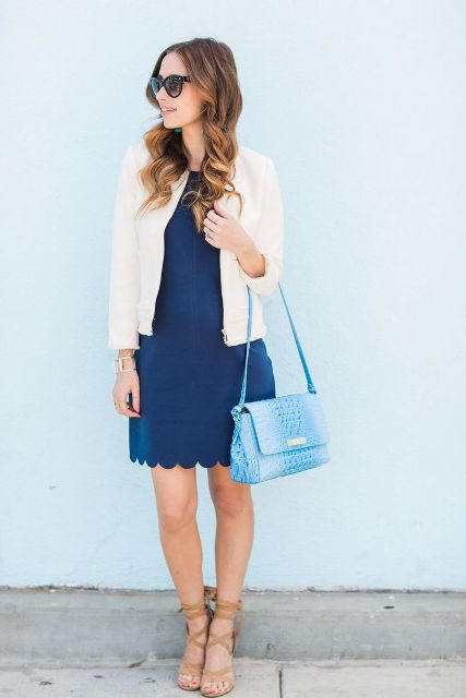 With blazer, snake printed bag and lace up sandals