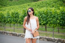 With crossbody bag and ankle strap shoes