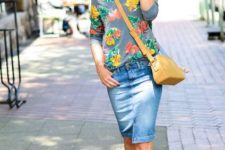 With denim skirt, yellow crossbody bag and platform sandals
