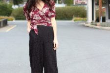 With floral wrapped blouse and black pumps