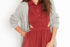 With gray loose cardigan