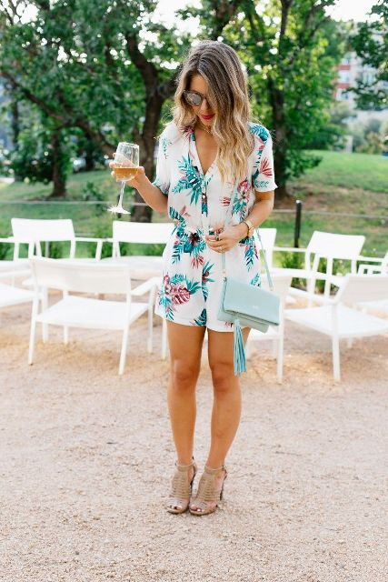 With light blue bag and cutout shoes