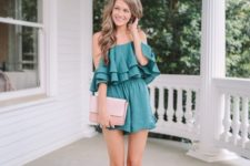With pale pink clutch and pale pink sandals