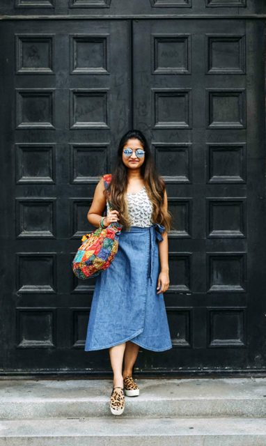 With printed top, colorful tote bag and leopard slip on shoes