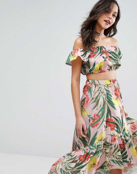 With ruffled midi skirt