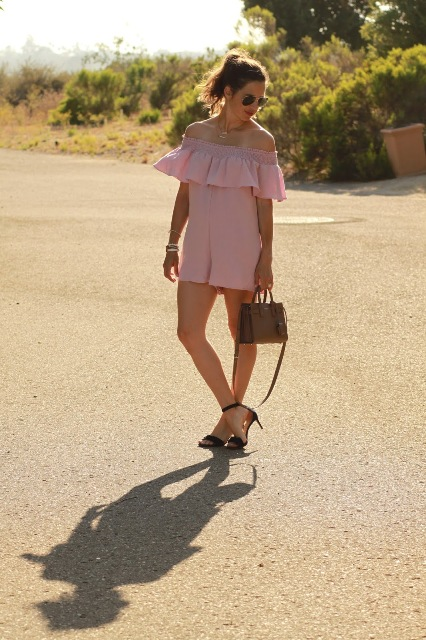 With small bag and ankle strap low heeled shoes