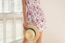 With straw hat and beige ankle strap shoes