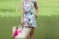 With straw tote bag and flat sandals