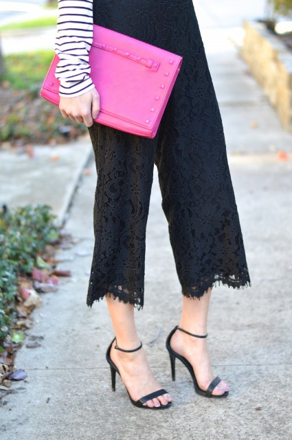 With white and black striped shirt, hot pink clutch and black heels