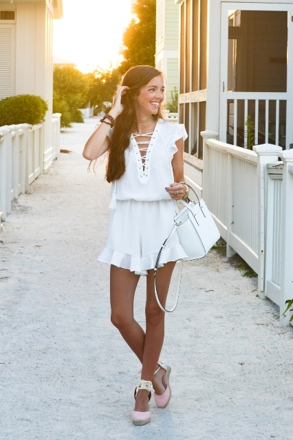 With white bag and ankle strap flat shoes