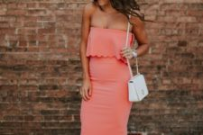 With white small bag and gray sandals