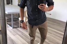 a dark chambray shirt, camel cargo pants, white sneakers for a simple and casual transitional look