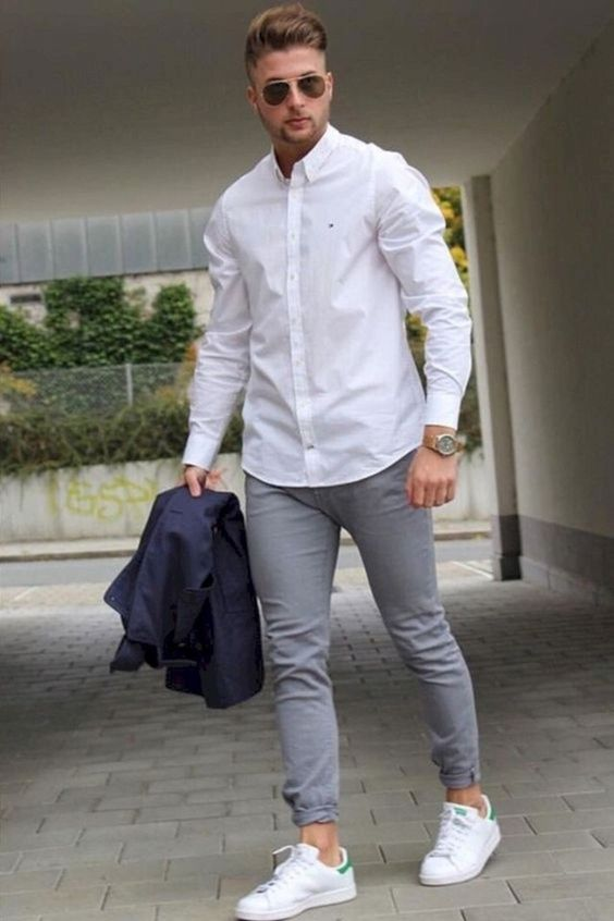 a white shirt, grey jeans, white sneakers for a simple everyday outfit during transitional time