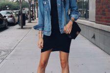 02 a black mini dress with an asymmetrical skirt, a blue denim jacket, nude heels and a black bag