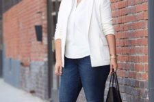 02 a casual work look with navy skinnies, a white shirt, a creamy blazer, black sneakers and a black tote