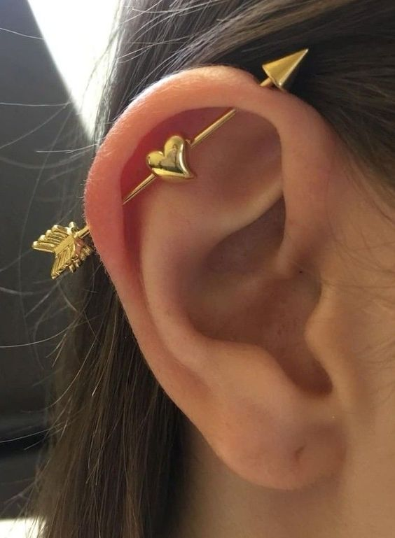 a cute and romantic gold arrow industrial with a heart is a very fun idea to accent your ear