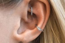 02 a double conch piercing with shiny rhinestone hoops is a bright and chic idea to rock