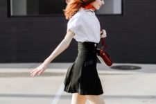 02 a white shirt, a black high waisted skirt, red Mary Jane shoes and a matching bag for the fall