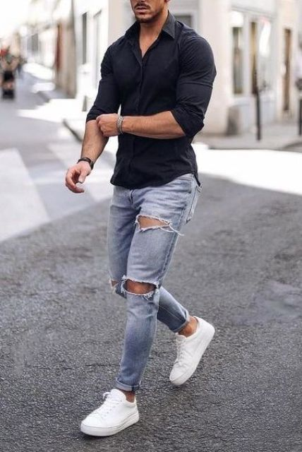 a black fitting shirt, blue ripped jeans and white sneakers for a simple weekend look