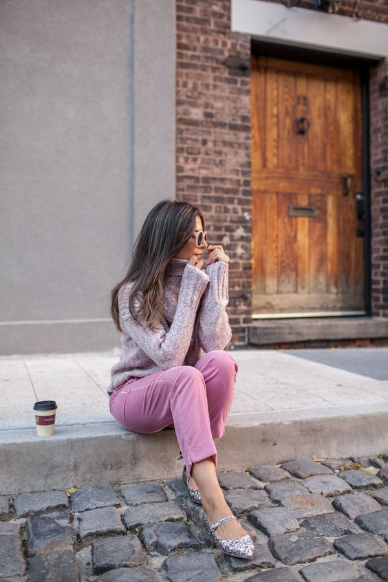 pink velvet pants, a turtleneck sweater, printed Mary Jane flats for a romantic fall look