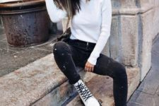 04 a white turtleneck, black skinnies, white platform boots for an ultimate fall look
