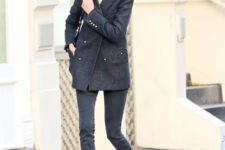 04 black skinnies, a black oversized short coat, red Mary Jane shoes and a black bag