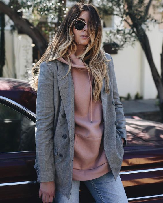 blue jeans, a mauve hoodie and a grey plaid blazer will give you an unexpected and fresh casual look