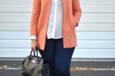 04 navy skinnies, vintage-inspired flat sandals, a white shirt, a coral blazer with a zip and a black bag