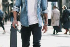 05 a double denim look with a white tee, a blue chambray shirt, black jeans and white sneakers