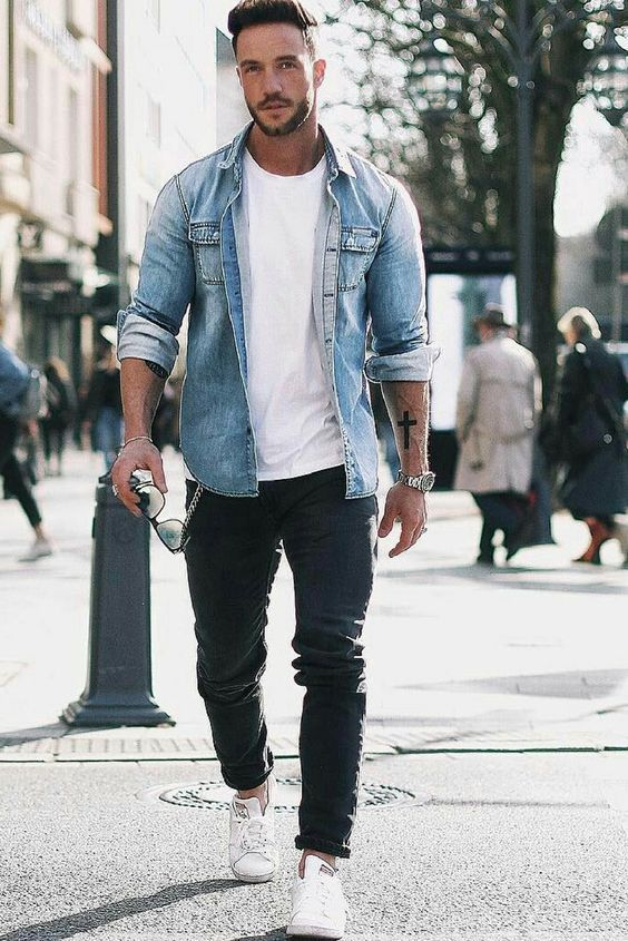 a double denim look with a white tee, a blue chambray shirt, black jeans and white sneakers