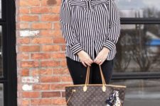 05 black jeans, a striped shirt, black suede booties and a comfortable tote