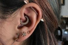 05 multiple shiny and embellished piercings and an arrow industrial to add a boho feel