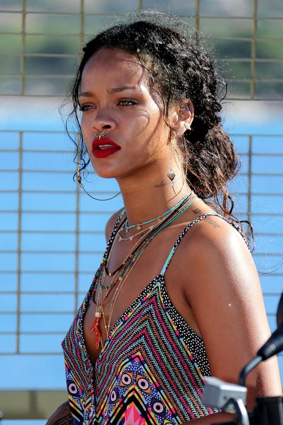 Rihanna wearing an embellished nose captive ring for a wilder and more boho look